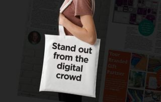 Woman with branded cotton shopper